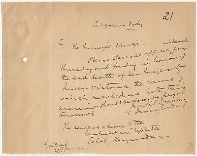India 1901 Queen Victoria Mourning ORDER TO CLOSE SHOPS