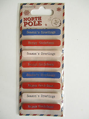 North Pole - Sentiment Toppers Stickers - Happy Christmas , Season's Greetings