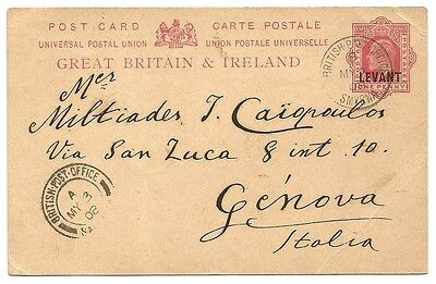 British Levant KEdVII 1d red postal card used 1908 to Italy