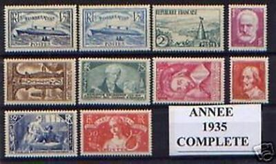 FRANCE STAMP ANNEE COMPLETE 1935 NEUVE xx LUXE , 10 TIMBRES , VALEUR: 718€  A183