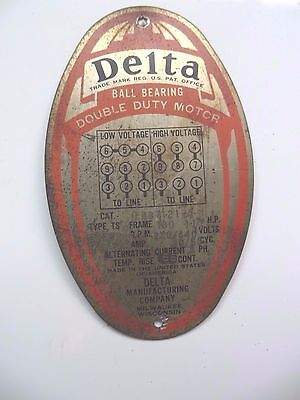 Original DELTA BALL BEARING DOUBLE DUTY MOTOR MFG.MILWAUKEE, tag id CO.Sign