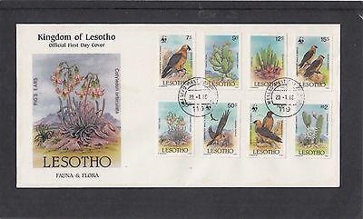 Lesotho 1986 Fauna Flora Cactus Cacti Birds First Day Cover FDC Maseru fdi h/s