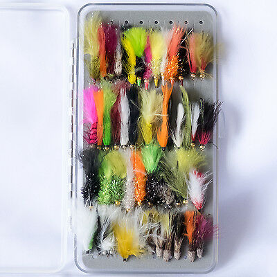 50 Stillwater Lures Streamers in a Free Fly Box Trout Fly Fishing Flies size 10