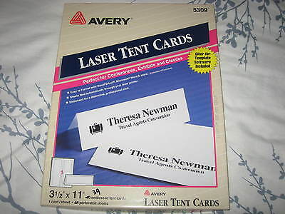 "Avery #5309 Laser Tent Cards 3.5"" X 11"" partial box of 39"