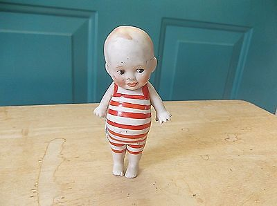 Vintage Standing Bisque Kewpie Doll in Red and White Bathing Suit