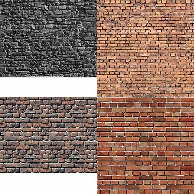 8 SHEETS EMBOSSED BUMPY BRICK stone paper wall 21 cm x 29cm width landscape