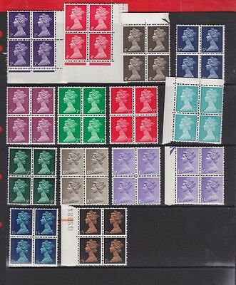 G.B. Elizabeth 11, Definitives blocks of 4, 1967, MNH, mint stamps
