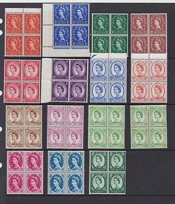 G.B. Elizabeth 11, Definitives blocks of 4, 1958-65, No wmk, MNH, mint stamps