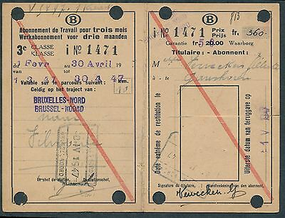 QY2801d BELGIUM 3rd cl 3 monthly workers season ticket 1947