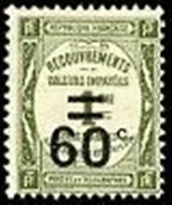 """FRANCE STAMP TIMBRE TAXE N° 52 """" RECOUVREMENT 60c. s. 1c. OLIVE """" NEUF xx TTB"""