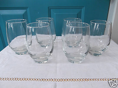 Six Retro Libbey Glass Clear 4 1/2 Inch Tumblers Glasses