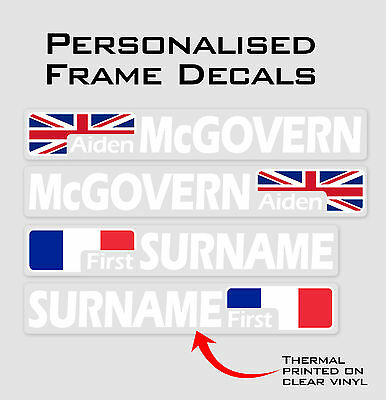 Cut Flag Personalised Bike Frame and Helmet Stickers - Name Decals - Set of 6