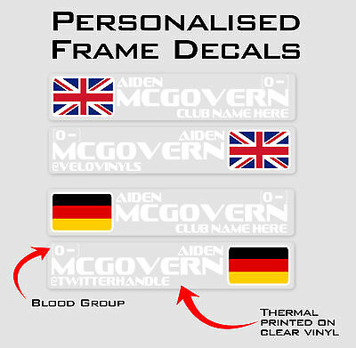 Deets Personalised Bike Frame and Helmet Stickers - Name Decals - Set of 6