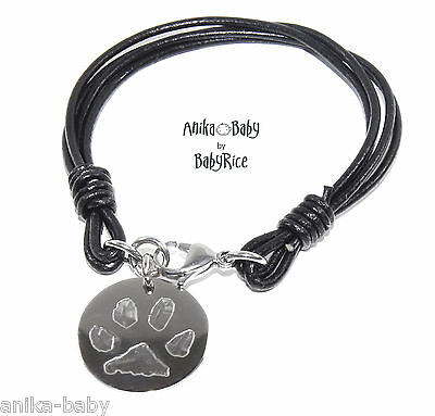 Personalised Dog Cat Pet Paws Prints Pawprint Circle Pendant on Leather Bracelet