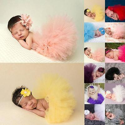 Newborn Headdress flower+Tutu Clothes Skirt Baby Girls Photo Prop Outfits - CB