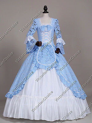 Renaissance Colonial Vintage Lace Overlay Dress Cosplay Reenactment Clothing 133