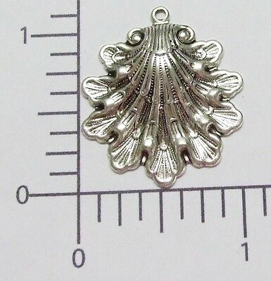 24164         2 Pc Matte Silver Oxidized Victorian Shell Charm Jewelry Finding