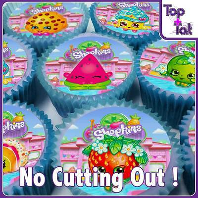 Pre-Cut 24 Shopkins Cupcake Edible Wafer Paper Toppers Party