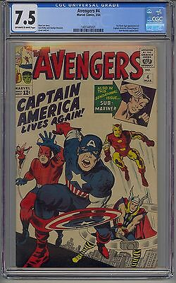 Avengers #4 Cgc 7.5 Off-White To White Pages Marvel Captain America