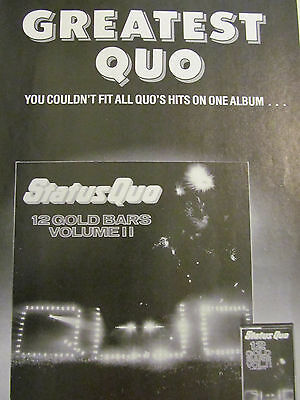 Status Quo, 12 Gold Bars, Full Page Vintage Promotional Ad