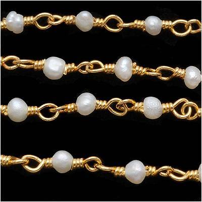 Tiny White Seed Pearl Gold Vermeil Wire Wrapped Chain 3mm - By The Inch