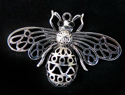 Vintage Bumble Honey Bee Pendant Charm Antique Silver Insect Rhinestone bead NR!