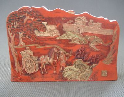 Antique Qing Chinese Carved Cinnabar Ink Stick With Qian Long Mark 荣归故里