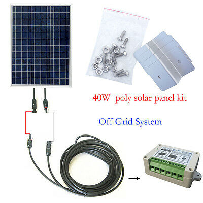 40W 12V Solar Panel & 15A PWM Charge Controller for Battery Charger Off Grid