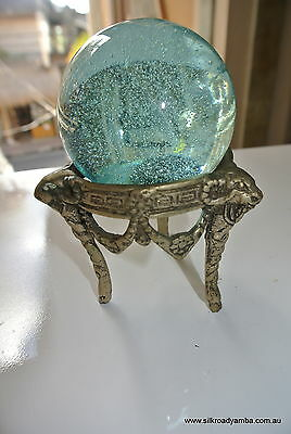 """5"""" clear glass ball SPHERE engraved shaped base vintage style hand blown"""