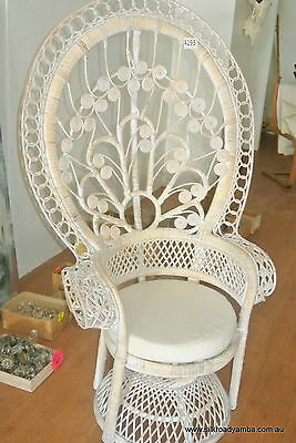 used PEACOCK chair medium 1300 high white cane & cushion  pick up only YAMBA NSW