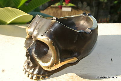 """SKULL head ash tray solid BRASS old vintage style collect 6"""" new statue aged"""