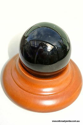 small 55 mm blue glass SPHERE on wood base vintage style