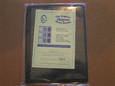 Stamp Album Stock Pages: 6 Strip Single Sided  Pack of 10 Pages Hagner Black