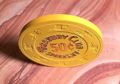 Old Treasury Club Casino $.50 Cent Poker Chip From Sparks Nevada N/m!