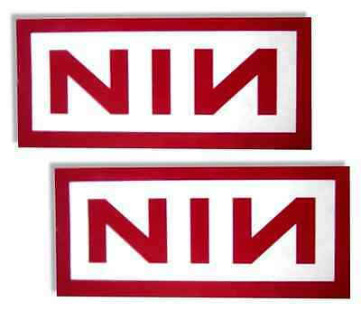 Nine Inch Nails - Two Red Transparent Logo Rectangle Sticker Set - New