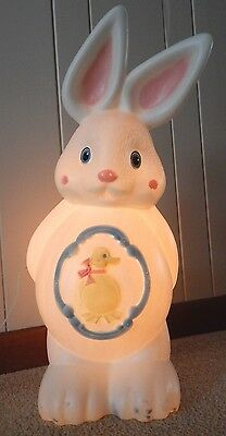 Easter Lighted Blow Mold Bunny Rabbit W/yellow Chick Yard Decoration