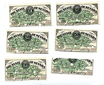 Vintage Bond Coupons STATE OF NEVADA 1880s set of 6