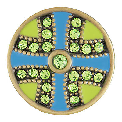 Ginger Snaps ANTIQUE BRASS FLUTTER - GREEN/TURQUOISE SN07-78  Buy 4, Get 1 FREE