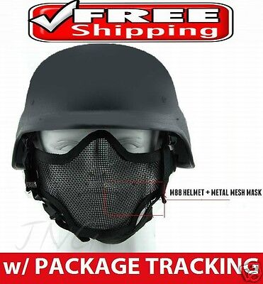 Protection Steel Mesh Face Mask + M88 Airsoft Paintball PASGT Swat Helmet Set