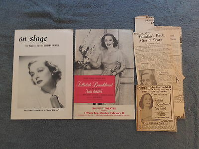 1955 TALLULAH BANKHEAD On Stage Shubert Theatre Magazine DEAR CHARLES &Clippings