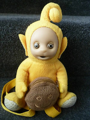 """BBC C-Beebies Teletubies LaLa Backpack with happy face purse approx 10"""""""