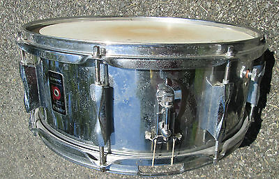 """Vintage '80s  Premier Olympic  ENGLAND 14""""  Chrome Snare Drum  !  with Case"""