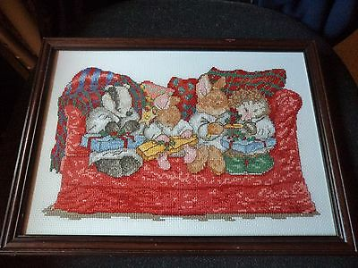 Hand Made Counted Cross Stitch Framed Picture  -  Country Companions - Presents