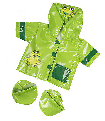 """Green Frog Raincoat & Boots Outfit Teddy Bear Clothes to fit 8""""-10"""" bears"""