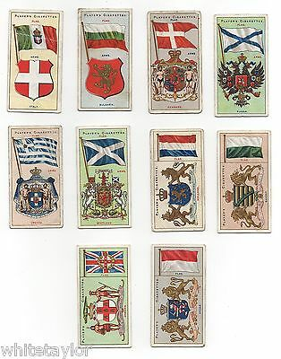 Players Cigarette Cards Countries Arms & Flags Part Set 10/50 1912 Thin