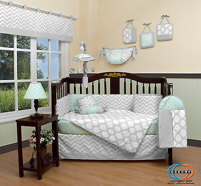 Baby Soft Mint Green & Gray Chevron 13 Piece Nursery CRIB BEDDING SET