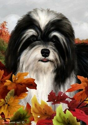 Large Indoor/Outdoor Fall Flag - Black & White Havanese 13092