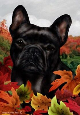 Large Indoor/Outdoor Fall Flag - Black French Bulldog 13253
