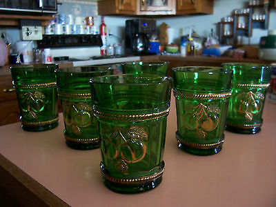 Northwood Peach green and gold tumblers (6)