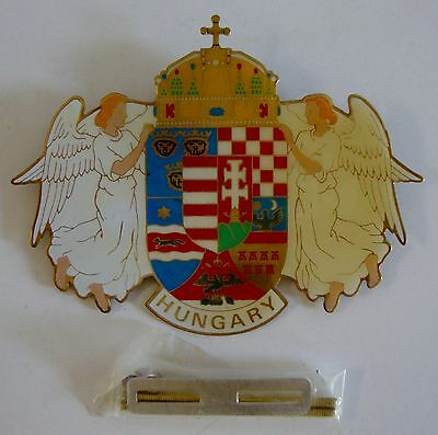 Vintage NOS Brass Enamel Hungary Car Grill Badge Flag Coat Of Arms With Angels